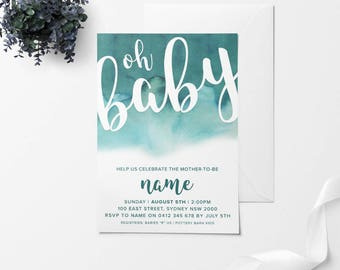 OH BABY, Baby Shower Invitation, Printable Baby Shower Invitation, DIY Baby Shower Invitation, Green Baby Shower, Watercolor Invitation