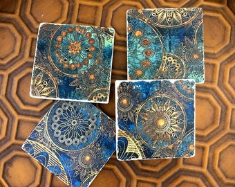 Galileo Golden Wheel Stone Coasters,  set of 4