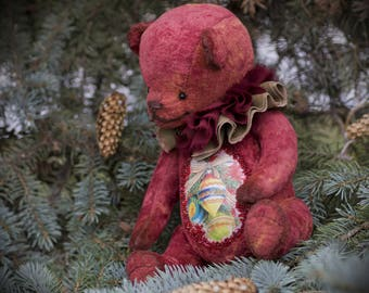 Artist teddy bear.Teddy.Christmas gift.Artist teddy.Plush toy bear.Christmas toy Bear.New Years Bear.Toy plush bear.Burgundy bear.OOAK.