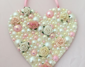 Vintage Pearl Rose Heart Wall Hanging for Wedding, Engagement or Home Gift