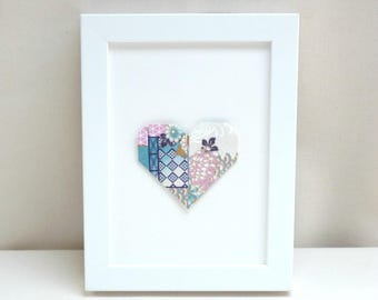 """Hanger - heart - pink and blue - origami Collection """"My heart, my love"""""""