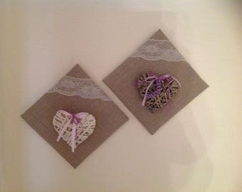 decorate 2 tables color linen with its hearts