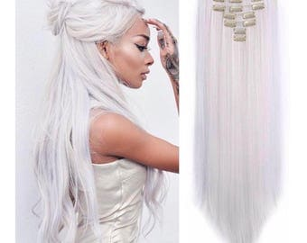 White hair extension etsy icey white platinum blonde 100 remy human hair clip in hair extensions 24inches pmusecretfo Image collections