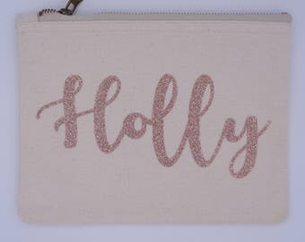 Rose Gold Personalised Makeup Bag, Make up bag, Birthday gift, cosmetics bag, travel cosmetic bag, toiletry bag, Rose Gold