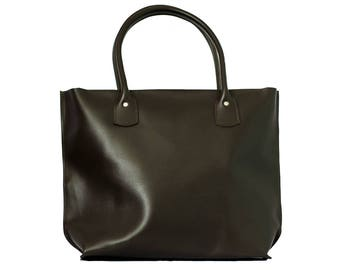 Leather Tote Leather Bag handbag shoulder bag with zipper personalized gift for her casual brown women tote anniversary
