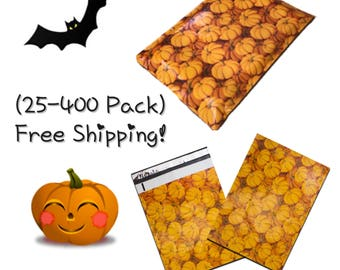 "FREE SHIPPING! (25-400 Pack) 10x13"" Pumpkins Designer Poly Mailers"
