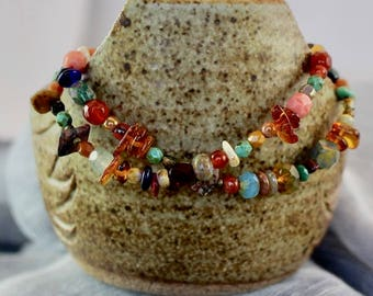 Viking inspired bracelet, double strand,natural stone chips and beads,amber chips, Czech glass beads,copper beads and lobster clasp,B167