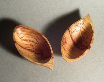 Small  Hand-Carved Spalted Maple Wood Bowls