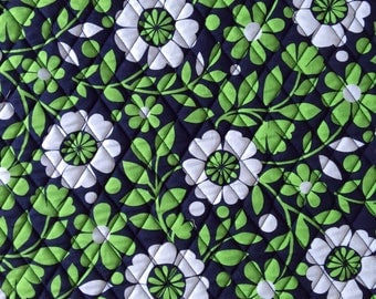 """Double Sided Quilted Fabric Square 45x45cm(17""""x17"""") QF059_White Green Floral Dot"""