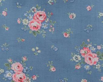 "Cath Kidston Half Yard Cotton Fabric  52""(133cm) Wide_Bouquets on Blue PF018"