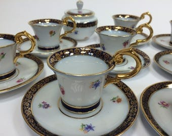 SAXE-Coffee Service for 8 in fine porcelain-Edges Décor Gold-Cobalt Blue Porcelain