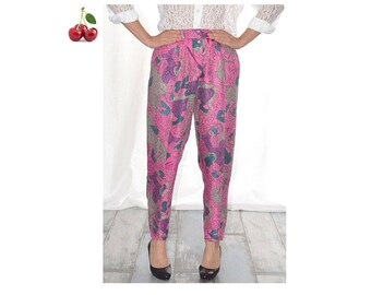 Pants Chacok printed vintage 80's fuchsia high waist pants wool and silk carrot pants elastic waist button closure
