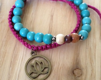Adjustable Bright Hemp Lotus and Stretch Bracelet Set