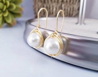 Pearls  Beige Earrings  / Pearls Earrings Gift / Mother Gift Earrings Pearls / Anniversary Gift Earring / Dainty Earrings Gift / BBF Gift