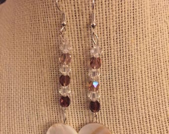 Amythest Earrings with shell dangles