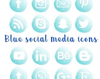 Blue watercolor social media icon, facebook, instagram, twitter, blog, digital,