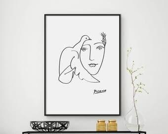 Picasso Poster, Picasso Printable, Pablo Picasso Sketch, Minimalist Print, Minimal art, Minimalist Poster, Modern Minimalist Print