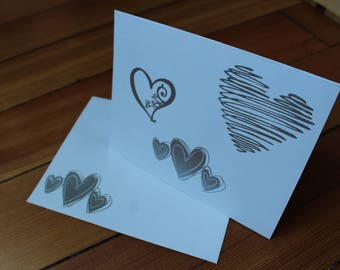 Hearts Blank Inside Card Set of 10 - Heat Embossed Silver on White, Blank Inside