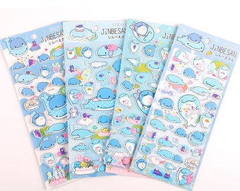 Jinbe San Japanese Cartoon Whale Shark Puffy Stickers, PVC Stickers, Kawaii Stickers, DIY Scrapbooking, Cute Whale, Underwater Stickers