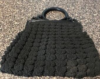 Vintage Popcorn Crochet Purse with Celluiloid Handle