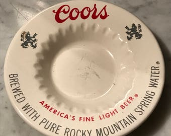 Vintage Ceramic Coors Beer Ashtray