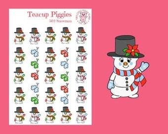 Teacup Piggies - Snowman Oinkers - Mini Planner Stickers - Snowman Stickers - Snow Day Stickers - Christmas Stickers - Winter - Xmas - [502]