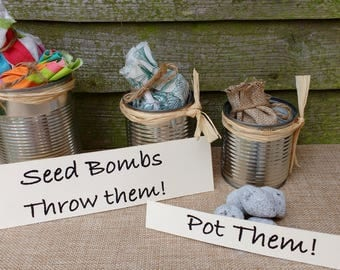 Bags of 3 seed bombs in a food can/guerilla gardening/save the bees/ recycling lovers/flower power activist/ seed balls/ eco-friendly