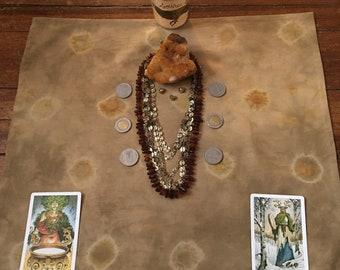 ABUNDANCE CLOTH ((shallot skins+pennies)): hand dyed altar/tarot cloth