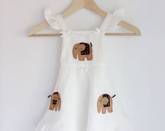 Vintage white frill elephant dress