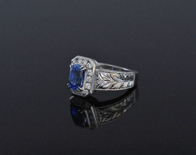 18K White Gold and Sapphire Ring  GIA CERTIFIED!