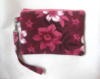 Pink Floral Wristlet Purse - Wristlet Clutch - Wristlet Pouch - Floral Clutch - Wristlet Wallet - Clutch Purse - Vegan Bag - Zipper Purse