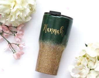 Green and Gold Ombre Glitter Tumbler - Glitter Tumbler - Hunter Green Tumbler - Ombre Tumbler - Gold Glitter Tumbler - Olive Glitter Tumbler