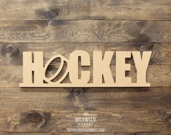 Hockey with Puck Cutout Sign