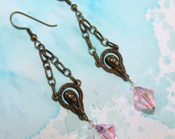 Mother Mary Pink Crystal Earrings
