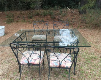 Mid Century Salterini Rod Iron Patio Set