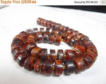 50% OFF SALE-- Shaded hessonite garnet smooth tyre rondelles/12mm/7 inch strand