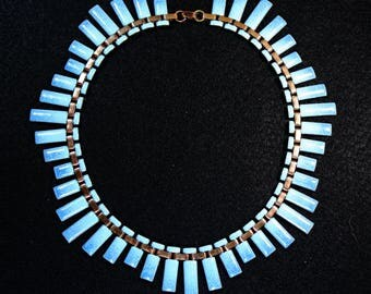 Renoir - Matisse Signed Aqua Blue Enamel Copper Necklace