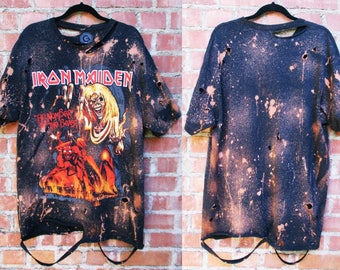 Mens Iron Maiden bleached distressed shirts S-XL band tee  Number of the beast