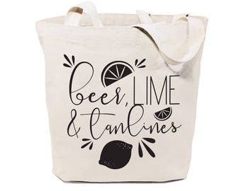Cotton Canvas Beer, Lime and Tan Lines Beach, Shopping and Travel Reusable Shoulder Tote and Handbag, Gifts for Her, Farmers Market, Summer