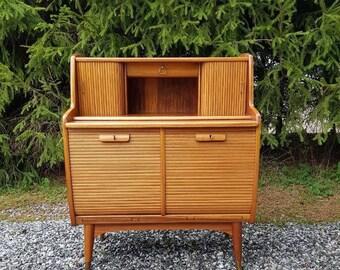 Vintage scandinavian mid century teak desk-chest of drawers