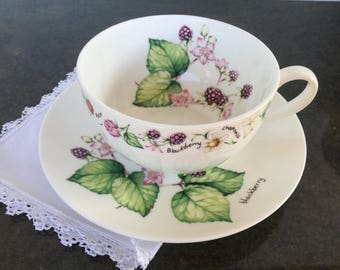 Crown Trent bone china cup and saucer set Made in England Tea type motifs Large cup Vintage china