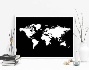 World map printable etsy world map printable white color world map instant download word map art world map sciox Gallery