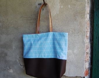 leather and cotton bag-summer city bag