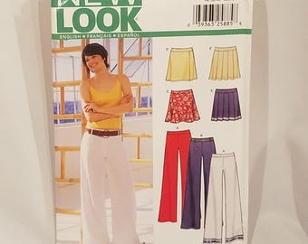 Simplicity New Look Sewing Pattern 6190 Misses Skirt Pants Bell Bottoms Pleated Skirt Short Skirt Wide Leg Pants Size 8 - 18 UNCUT FF