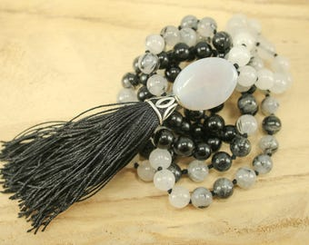 Obsidian, Tourmalinated Quartz, and Snow Quartz Tassel Necklace - Long Bohemian Gemstone Necklace, Chakra Meditation, Knotted Prayer Tassle