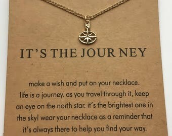 It's The Journey Necklace, North Star Charm, Gold Jewelry, Life is a Journey, Stars, Sky, Reminder, Simple Necklace, Gift Ideas, Motivation,