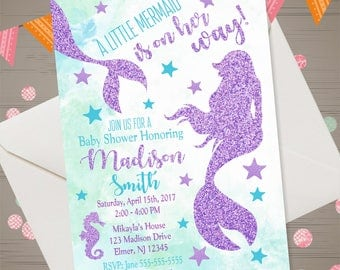 Mermaid Baby Shower Invitation Under the Sea Baby Shower Invitation Little Mermaid Baby Shower Invite Mermaid Tail Party Purple Glitter Aqua