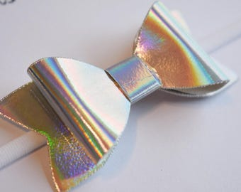 Holographic Bow - nylon bows, baby bow set, sparkly bow, first birthday bows, hair bows for kids, newborn bow set, cute hair bows,