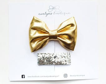Gold Bow with Sliver Glitter Clip l nylon baby headband, baby hair bows, baby headband, baby girl gift, baby bows, baby headbands, hair clip
