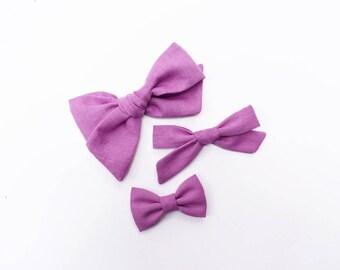 Geranium | Baby headband set, Baby bow Headbands, Small Bows, Baby Bows, Newborn headbands, Nylon Headbands, Baby hair bows, Purple Hair bow